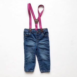 Baby B'gosh soft suspender jeggings EUC 12 months